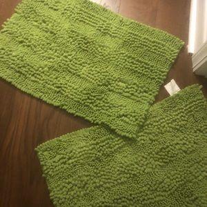 2 Lime Green Bath Mats